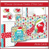 Monster Christmas Double Z Fold Card