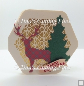 Deer / Stag - Layered 3d Christmas Card Octagon shape