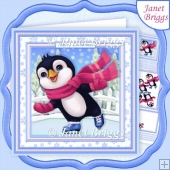 SKATING PENGUIN 8x8 Christmas Decoupage & Insert Kit