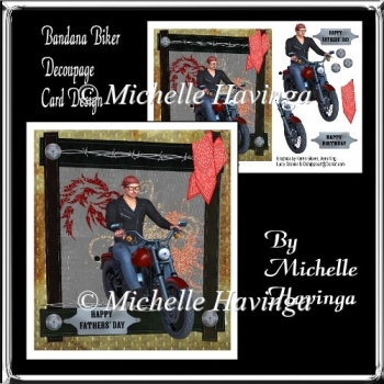 Bandana Biker Decoupage Card Design