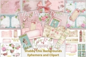 Shabby Chic Backgrounds, ephemera and clipart. CU