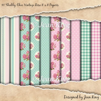 10 Shabby Chic Vintage Rose 8 x 8 Papers