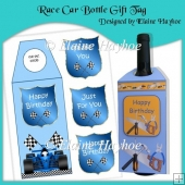 Race Car Bottle Gift Tag