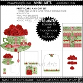 XMAS ROSE CRADLE CUP CARD AND CHOC WRAP SET