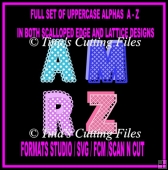 52 Alphas A - Z in scallop and lattice designs - Upper Case