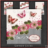 Vintage Flowers Stripes and Butterflies pink 1075