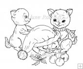 Christmas Kittens Digital Stamp/Line Art
