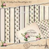 10 Vintage Paris Themed Papers Set 1