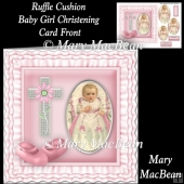 Ruffle Cushion Baby Girl Christening Card Front