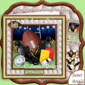 Rugby Equipment 8x8 Decoupage Kit with Ages