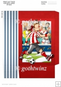 Football Dude Red and White Stripe Christmas mini Gift Bag