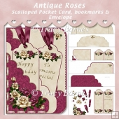 Antique Roses Scallop Pocket Card with Bookmarks & Envelope