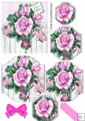 pink roses with butterflies bracket pyramids