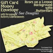 Roses on a Lemon Bgd with Butterflies Card/Money Envelope Kit