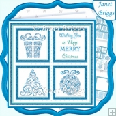 CHRISTMAS ICONS SQUARES BLUE 7.5 Quick Layer Cards & Insert Kit
