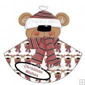 Christmas Teddy in Bobble Hat Holiday Head Rocker Card Set
