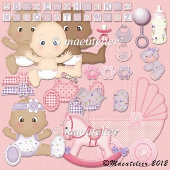CU Baby Clipart: Pink & Lilac