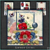 Vintage Grunge Card Kit Flowers and Laces red blue white 1149