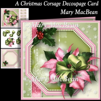 A Christmas Corsage Decoupage Card