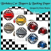 Birthday Car Card Toppers & Backing Paper