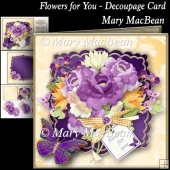 Flowers for You Decoupage Card Front