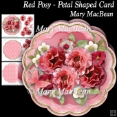 Red Posy - Petal Shaped Card