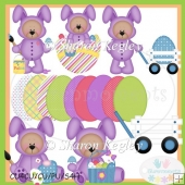 Easter Bear Bunny Purple 1 Clip Art