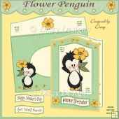 Flower Penguin Curved Top Card