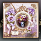 Vintage Lilac Tulips & Butterfly Card Mini Kit