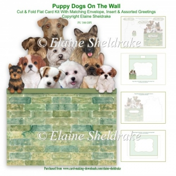 Puppy Dogs On The Wall - Cut & Fold 7 x 5 Card Kit