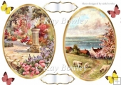 pretty garden & cornwall by the sea toppers with butterflies