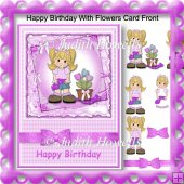 Happy Birthday With Flowers Card Front
