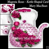 Magenta Roses - Kettle-Shaped Card