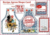 KISS THE COOK Apron Shape Card with Inside Pocket & Recipe Card