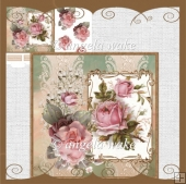 Pink rose card with decoupage