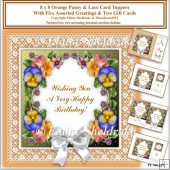 8 x 8 Orange Pansy & Lace Card Toppers & Gift Cards