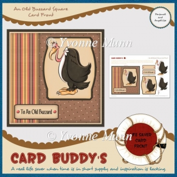 An Old Buzzard Square Card Front