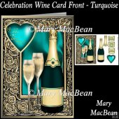 Celebration Wine Card Front - Turquoise