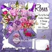 ROSES FLOWERS 3D POP UP CARD BOX KIT