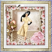Lady of fashion 7x7 card with decoupage