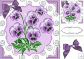 pretty lilac pansies with diamond swirls & bow 8x8