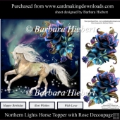Northern Lights Horse Topper with Rose Decoupage