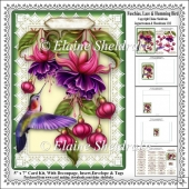 Fuschias, Lace & Humming Bird - 5 x 7 Card Kit With Decoupage