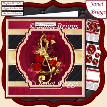 GOLD TREBLE CLEF & ROSES 7.5 Pyramage & Insert Card Kit