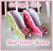 Cottage Chic High Heel Shoe Favor Boxes with Crafting Directions