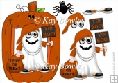Yo! Boo! Halloween Rapper Ghost in brown pumpkin frame