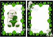 lovely white bear with green heart and rose in frame A5 Insert