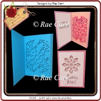 958 Fancy Floral Box Card Multiple MACHINE Formats