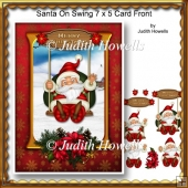 Santa On Swing 7 x 5 Card Front