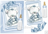 Cute little bear with blue bow on lace stacker card A5